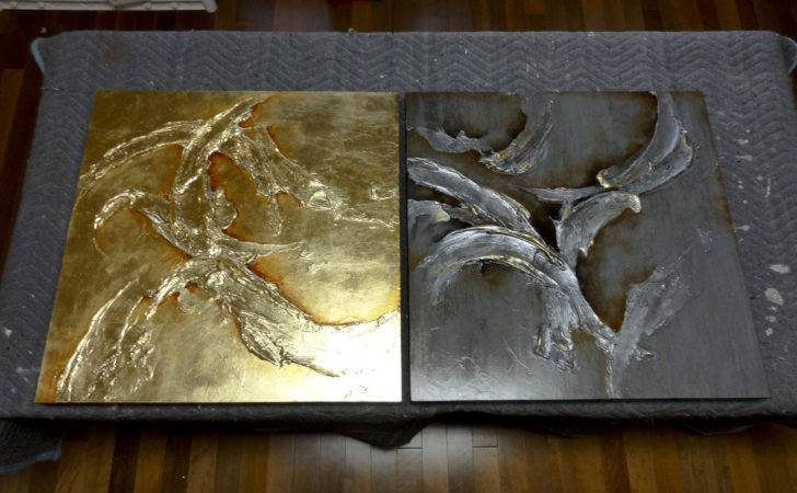 Sculptural Paintings Gold Leaf Silver Art Large Scale Classy