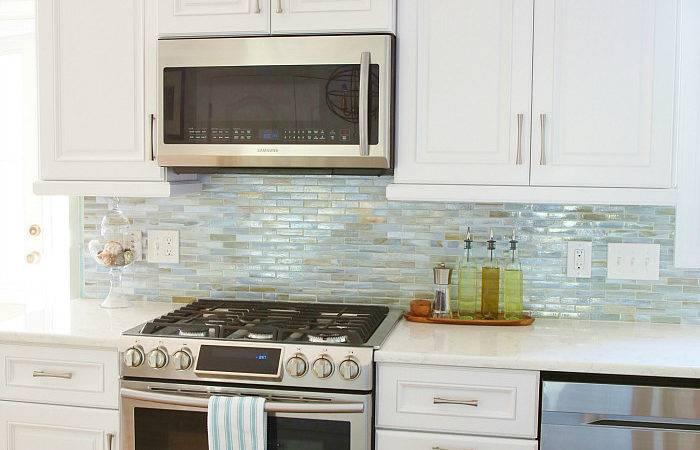 Sea Glass Coastal Kitchen Makeover Backsplash Lunada Bay Tile