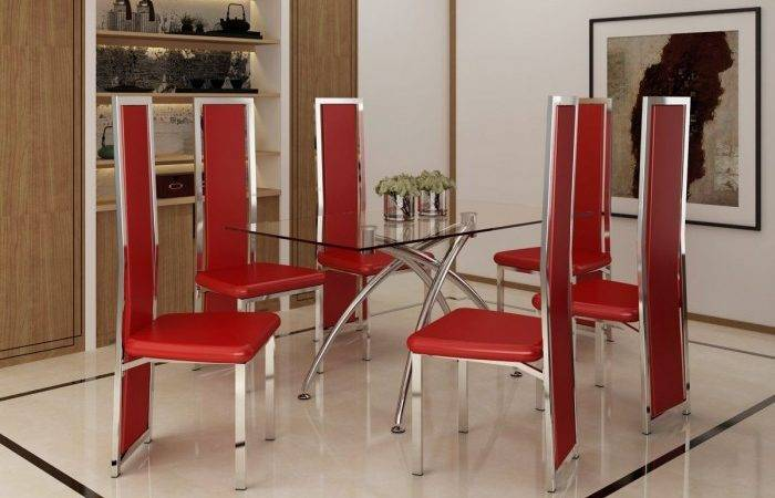 Seat Black Modern Dining Set Red White Chairs