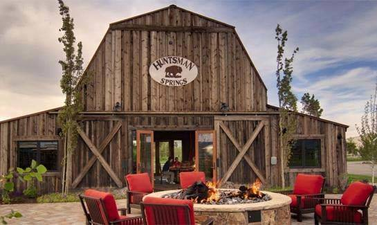 Seating Around Fire Pit Huntsman Springs Rustic Barn Restaurant