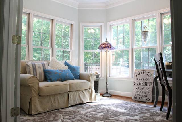 Serene Sunroom Eclectic Home Office Birmingham Unskinny