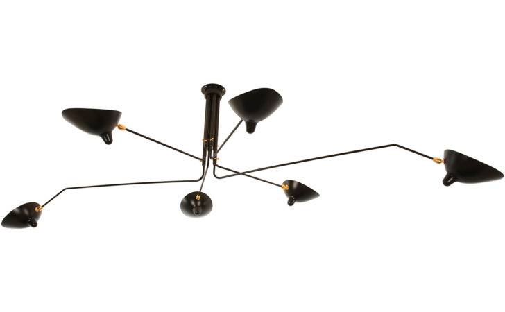 Serge Mouille Arm Rotating Ceiling Lamp Horne