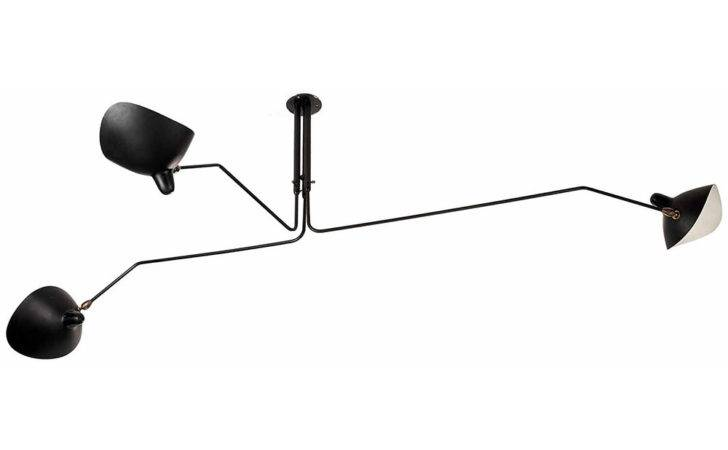 Serge Mouille Three Arm Rotating Ceiling Lamp Horne