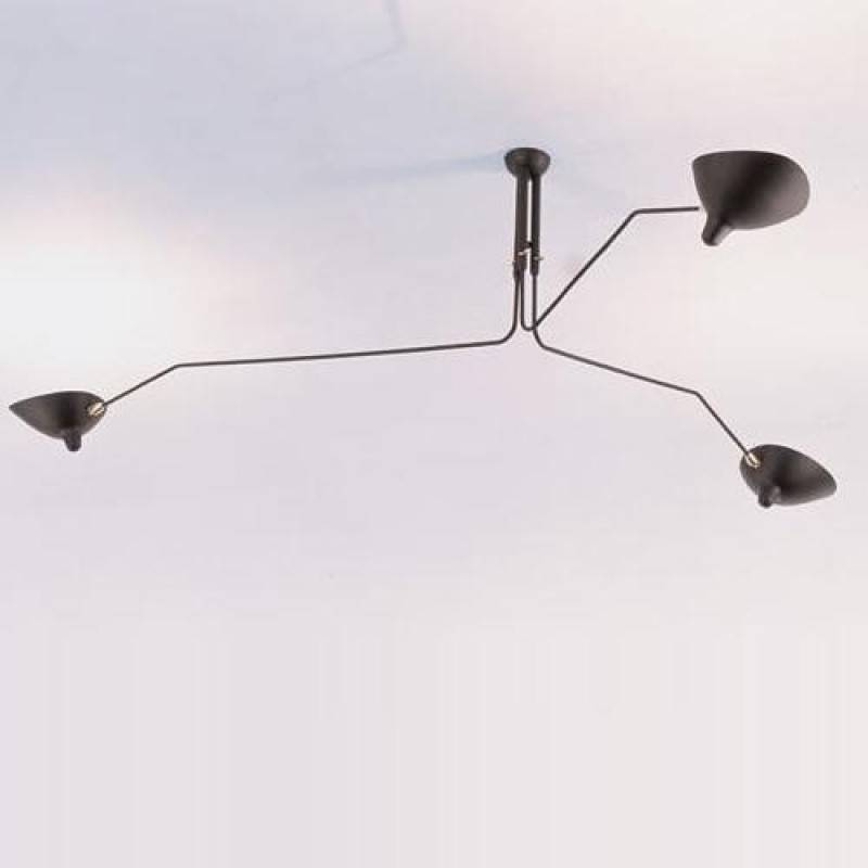 Serge Mouille Three Arms Ceiling Lamp Reproduction Contemporary