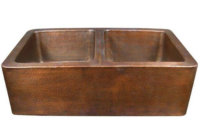 Series Antique Copper Undermount Solid Double Bowl Kitchen Sink