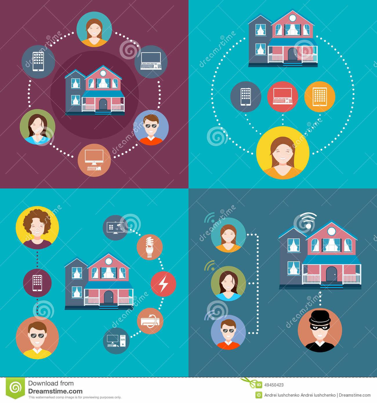 Set Elements Infographics Smart Home Illustration