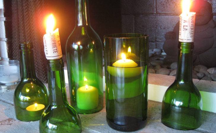Set Emerald Green Wine Bottle Candle Holders Hurricanes