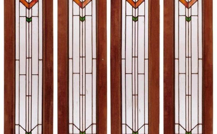 Set Four Art Deco Stained Glass Windows Sale Stdibs