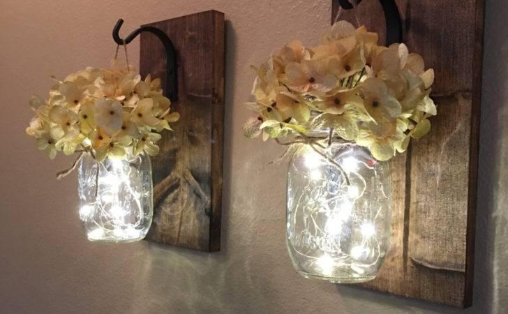 Set Hanging Mason Jar Sconces Hydrangea Flowers