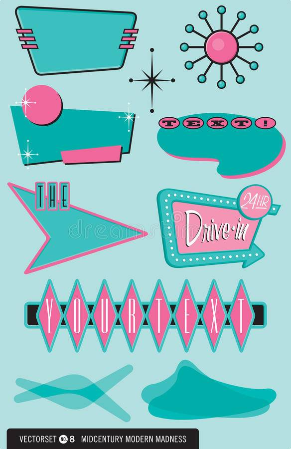 Set Midcentury Modern Design Elements Vector