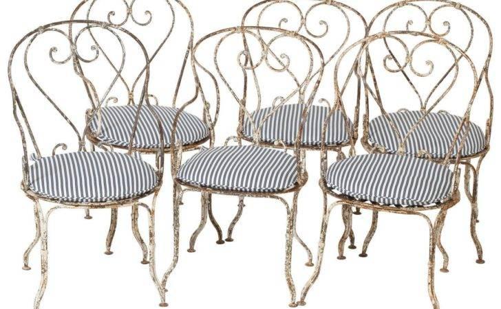 Set Six French Antique Wrought Iron Garden Chairs Circa