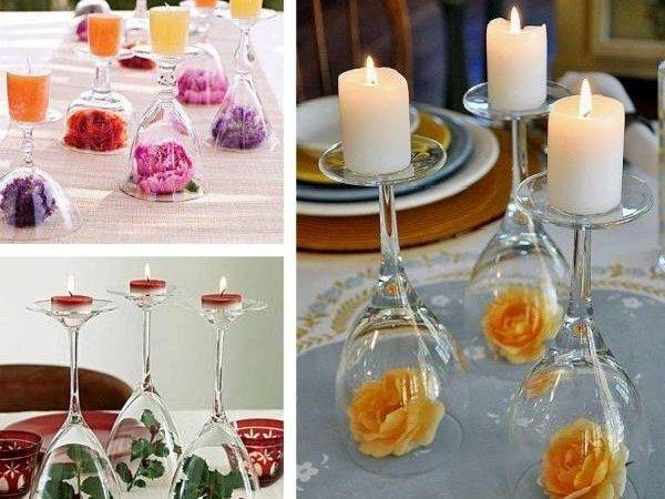 Set Wine Glasses Turned Into Candle Holders Inside