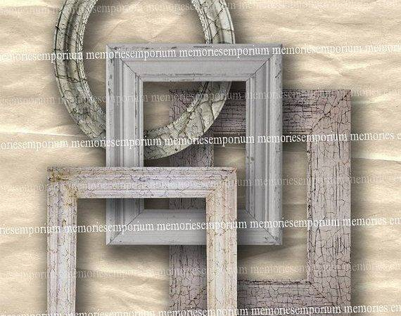 Shabby Chic Frames Digital Collage Sheet Distressed Old