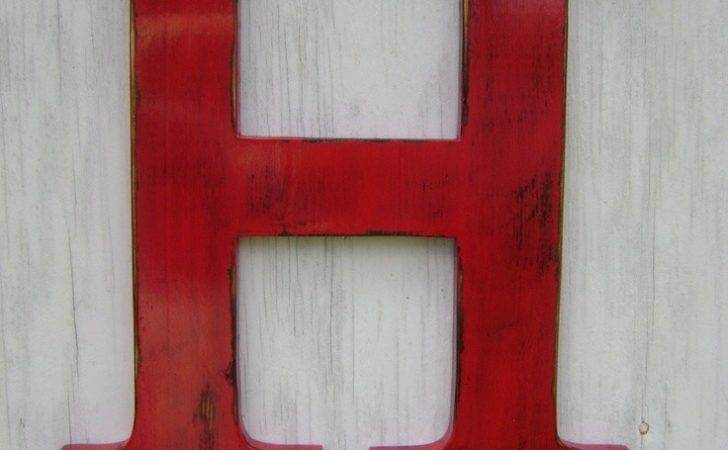 Shabby Chic Wooden Letter Distressed Painted Tru Red Tall