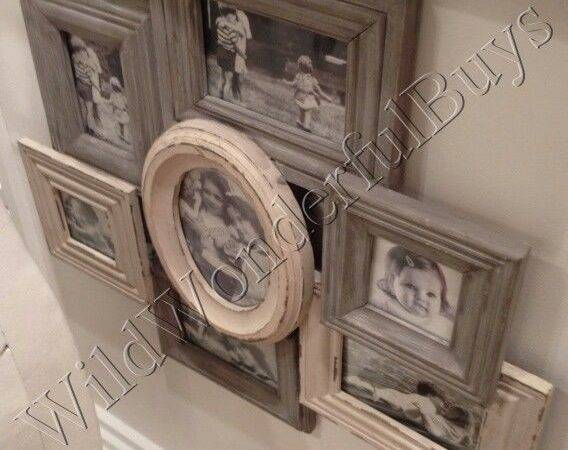 Shabby Country Chic Collage Frame Wall Decor Cream Taupe