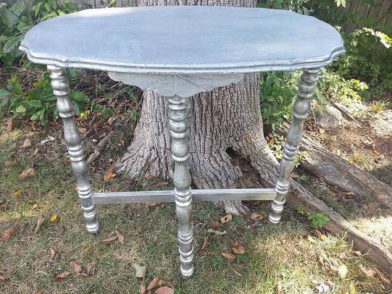 Shabby Side Table Vintage Chic Scalloped Edge Demi