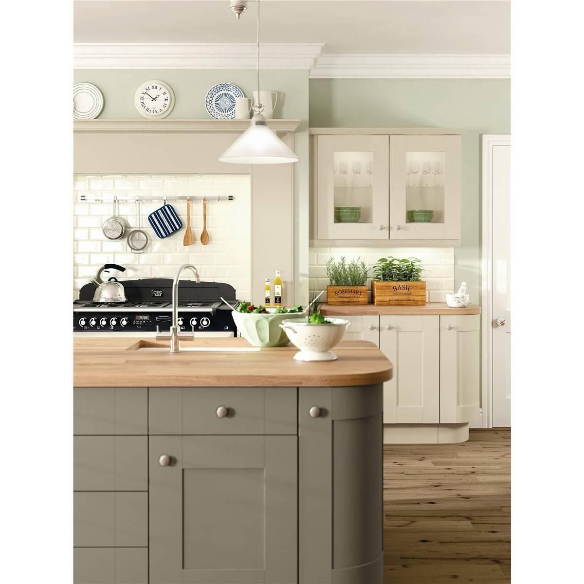 Shaker Kitchen Shown Olive Coloured Island Stone