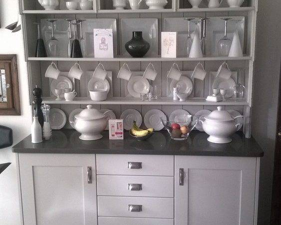 Shaker Style Cornforth White Grey Mist Worktops Porcelain