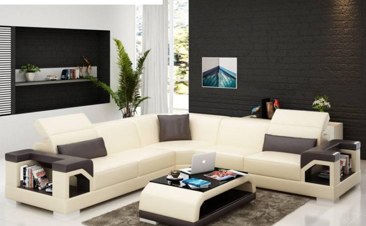 Shape Corner Black Quality Leather Modern Design Sofa Set