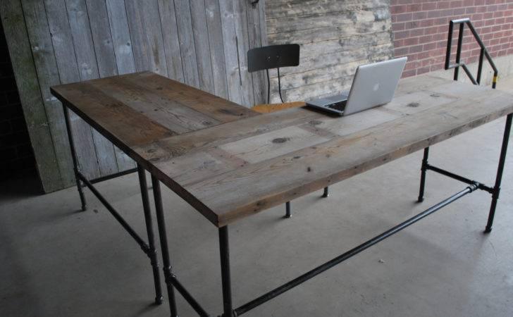 Shape Modern Rustic Desk Made Reclaimed Wood Choose Your