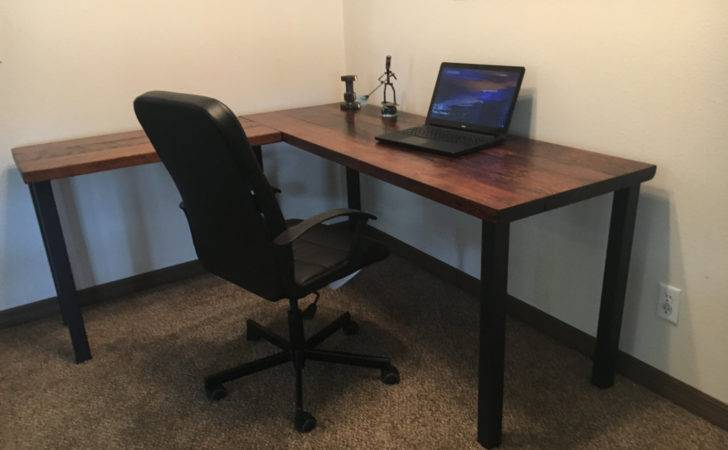 Shaped Desk Reclaimed Wood Old Rustic