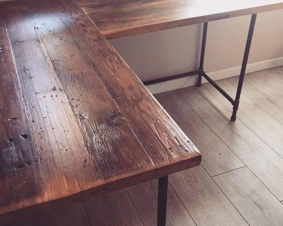 Shaped Desk Reclaimed Wood Pinterest