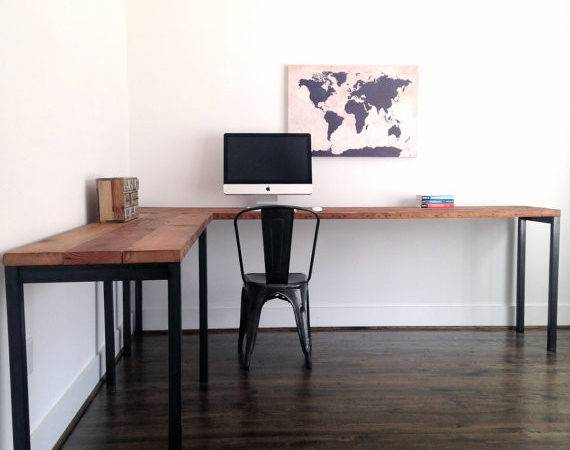Shaped Desk Reclaimed Wood Steel Industrial Custom