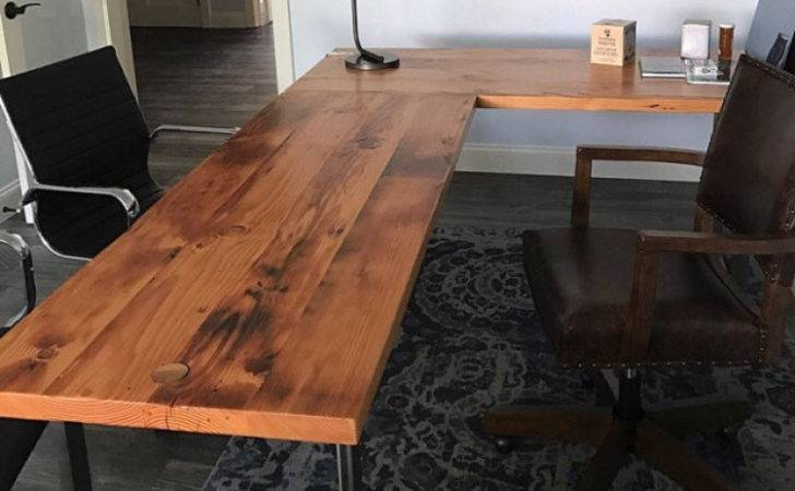 Shaped Desk Reclaimed Wood Steel