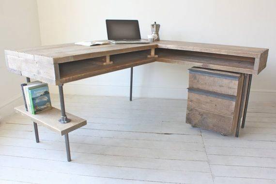 Shaped Office Desk Reclaimed Wood Trend Home Design Decor