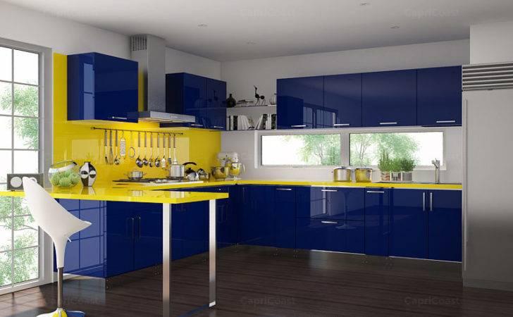 Shaped Purple White High Gloss Finish Kitchen Cabinets Modular