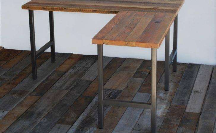Shaped Reclaimed Wood Desk Modern Office Furniture Urban