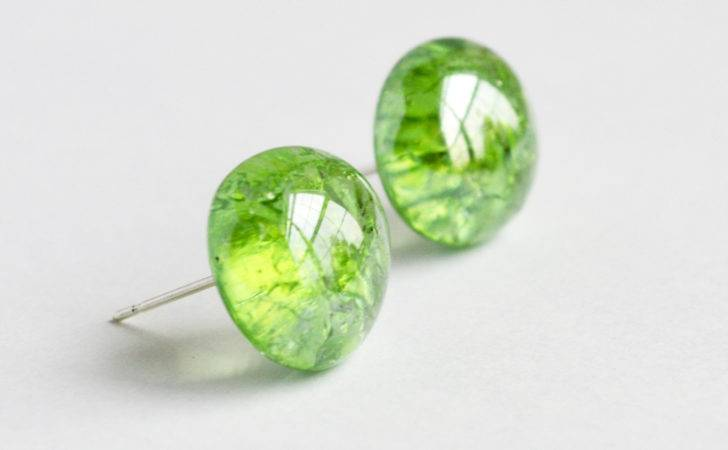 Shattered Glass Marble Post Earrings Green Apple Designs