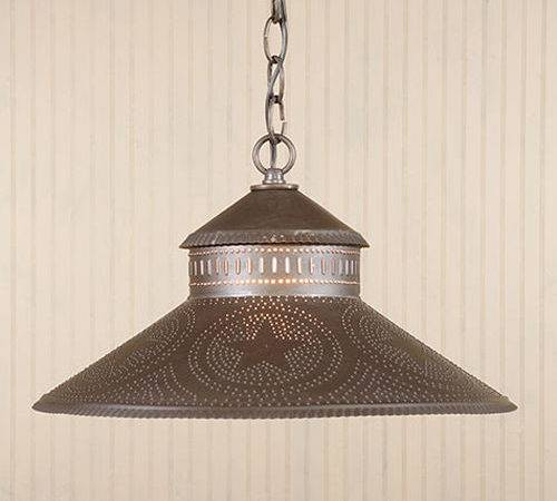 Shopkeeper Shade Light Punched Tin Star Pattern Early