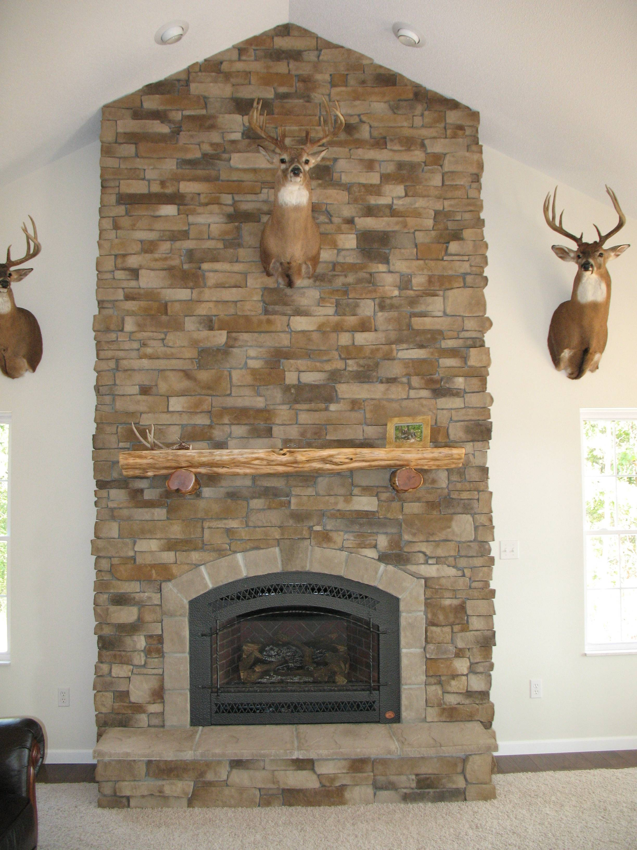 Show Off Your Trophy Dry Stack Cultured Stone Veneered Fireplace