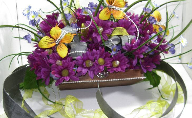 Silk Floral Arrangement Purple Yellow Daisies Fabbcreations