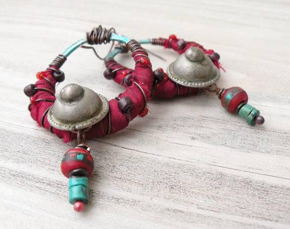 Silk Wrapped Hoop Earrings Fuschia Turquoise Bohemian Hoops