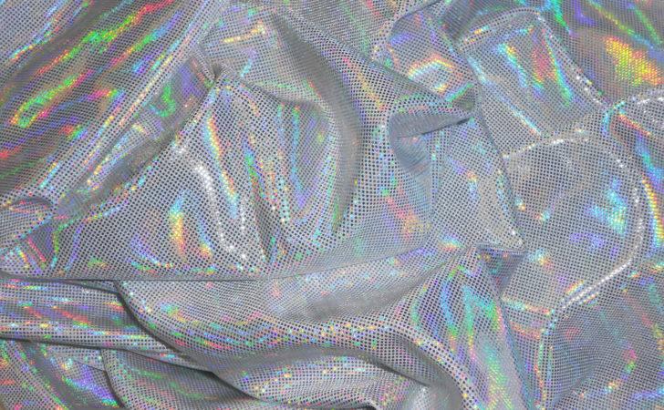 Silver Hologram White Lycra Width Dramaticfabric Etsy