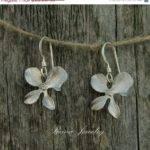 Silver Orchid Earrings Modern Metal Jewelry Bridesmaid