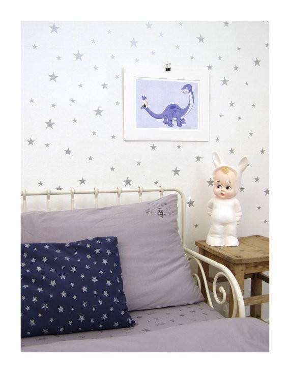 Silver Star Wall Stickers Sheets Nursery Decal Art