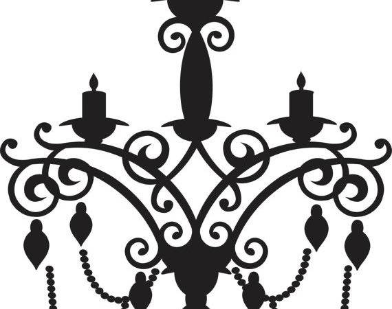 Simple Chandelier Drawing Wall Decal