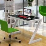 Simple Stylish Home Computer Desk Glass Study