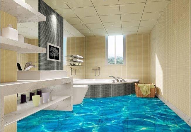 Simple Tile Floor Pattern Elegant Modern Bathroom Interior