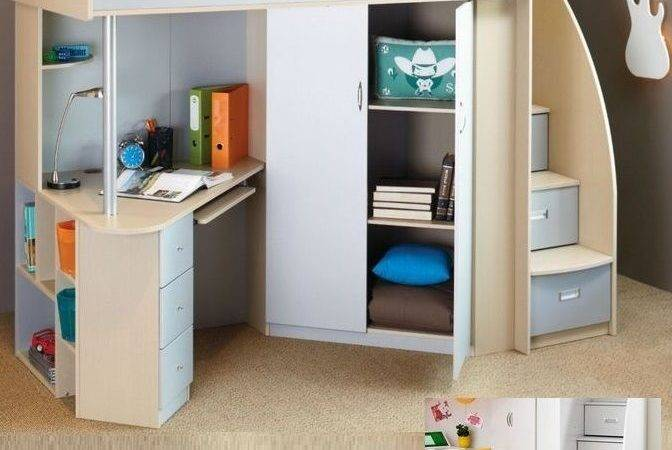 Single Cabin Bunk Bed Loft Desk Bookcase Cupboard Robe White Ebay