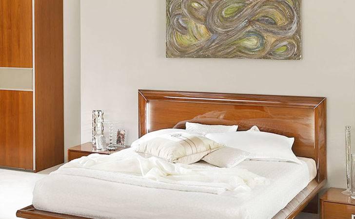 Skyler Walnut High Gloss Sky Led Bed Frame Bedsides Not Included