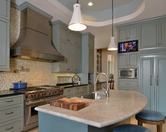 Slate Blue Kitchen Cabinets Victorian Row House Traditional