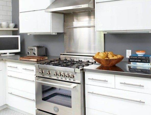 Slate Blue Walls Paint Color White Modern Kitchen Cabinets