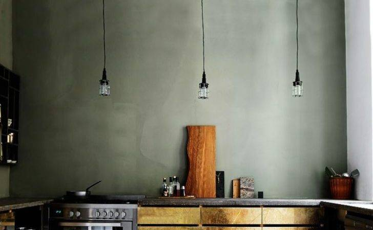 Slate Green Wall Color Brass Cabinets Kitchen House Decor