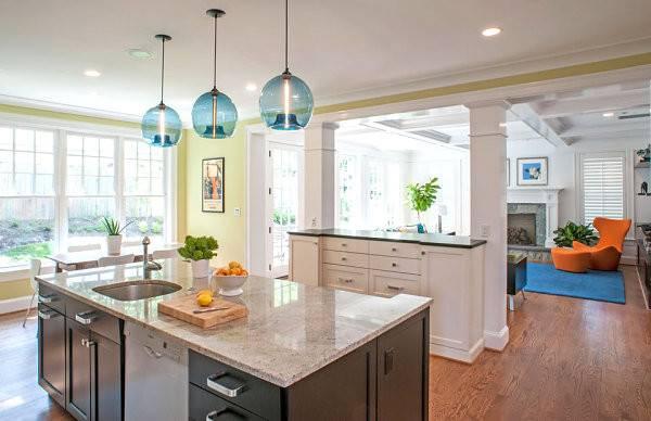 Sleek Tropical Kitchen Decor Blue Pendant Lamps Design