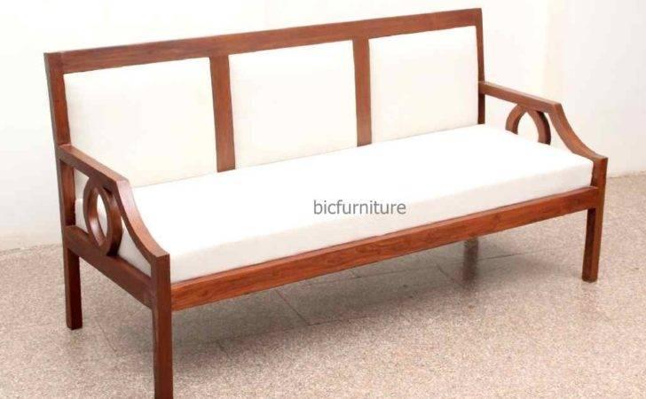 Sleek Wooden Sofa Set Fixed Cushion Handmade Teak Furniture