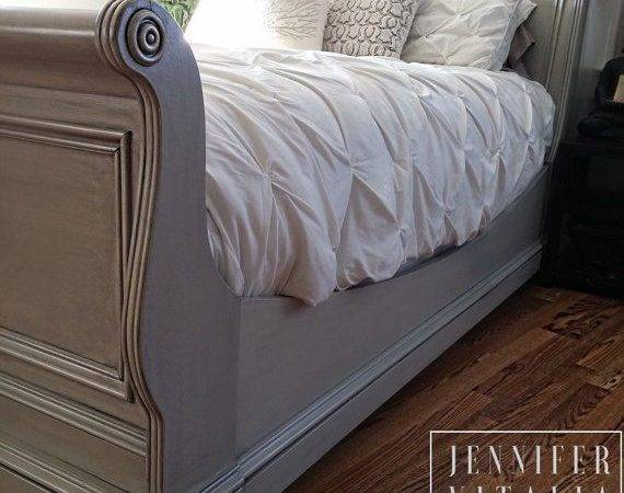 Sleigh Bed Gray Handpainted Custom Color